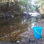 Waller Creek and child's bucket