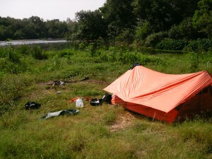 my tent on the river